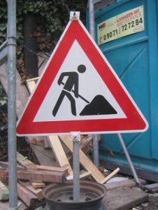 Baustellenschild, Baustelle, Schild, Wartung