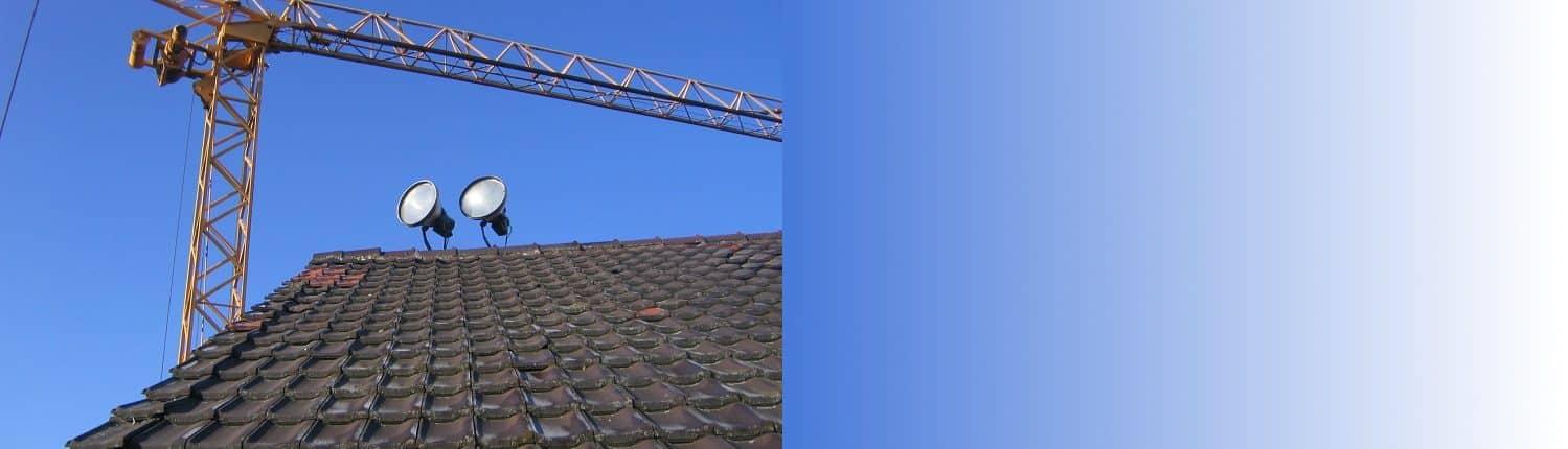 Dach Slider, Kran, Leuchten, Glühbirnen, Scheinwerfer, Dach, Dachziegel, Ziegel