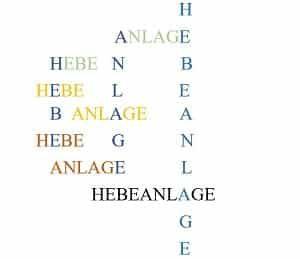Hebeanlage, Buchstaben, Wörter, Anordnung, Schrift, Schriftart, Schriftgröße