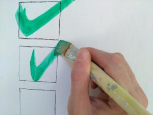 Checkliste, to-do's, To-do-Liste, abhaken, Check, grüner Haken, Pinsel, Farbe, Wasserfarbe