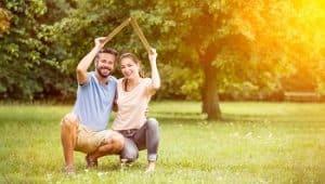 Familie, Haus, Eigenheim, glücklich